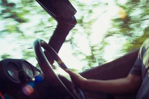 新緑の中を走るオープンカーの写真素材 [FYI01366760]