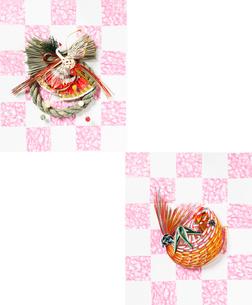 水引の正月飾りと鯛の写真素材 [FYI01367500]