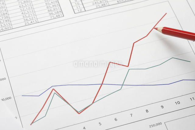 グラフと赤鉛筆の写真素材 [FYI01370486]