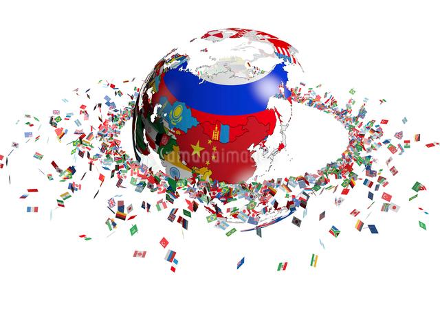 国旗で出来た地球と旗の輪の写真素材 [FYI01374936]