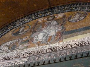 アヤソフィア大聖堂のキリストのモザイク画の写真素材 [FYI01377287]
