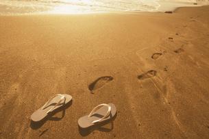 砂浜のビーチサンダルと足跡の写真素材 [FYI01378217]