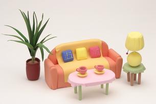オレンジのソファーの写真素材 [FYI01380601]