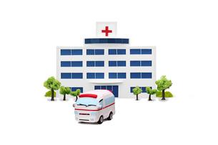病院と救急車の写真素材 [FYI01380648]