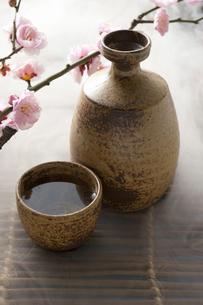 日本酒と梅の花の写真素材 [FYI01380773]
