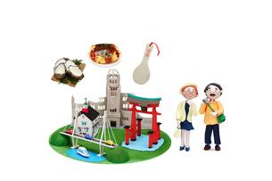 広島の観光地とご当地名物と老夫婦の写真素材 [FYI01380914]