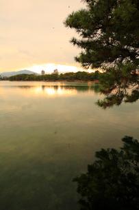 大濠公園の夕景の写真素材 [FYI01381517]