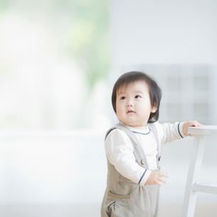 椅子につかまりながら見上げる赤ちゃんの写真素材 [FYI01381926]
