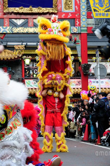 中華街の春節パレードの獅子舞の写真素材 [FYI01384335]