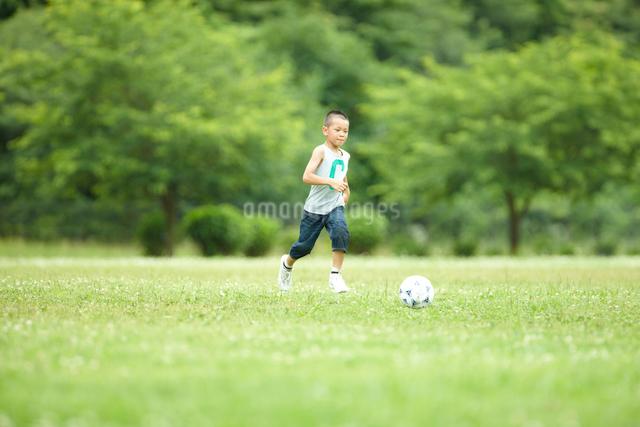 緑の芝生の上で元気よくサッカーをして遊ぶ男の子の写真素材 [FYI01384615]