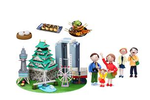 観光地クラフト 大阪とご当地名物と家族の写真素材 [FYI01385286]