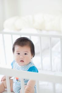 ベビーベッドの赤ちゃんの写真素材 [FYI01386597]