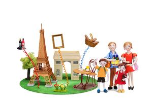 フランス パリ 観光地とご当地名産と家族の写真素材 [FYI01386948]