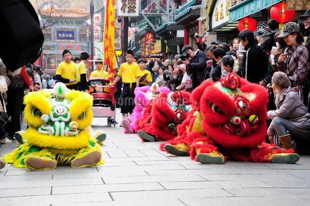 中華街の春節パレードの獅子舞の写真素材 [FYI01390151]