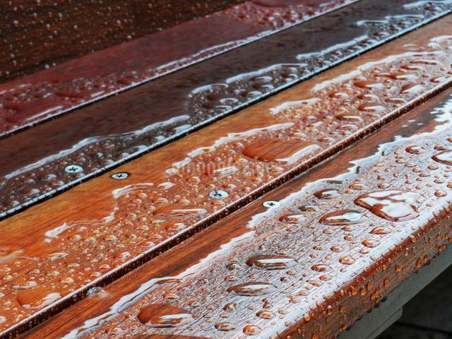 雨に濡れた木製のベンチの写真素材 [FYI01393212]