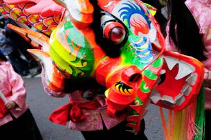 中華街の春節パレードの竜の舞の写真素材 [FYI01394581]