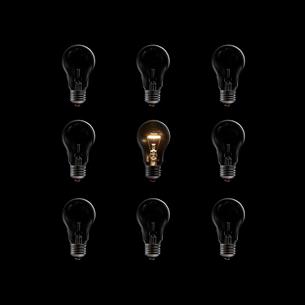 整列した電球の中に1つだけ発熱して光る電球の写真素材 [FYI01401985]