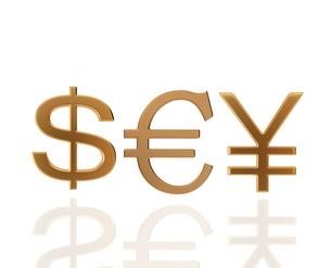 ドルとユーロと円の通貨記号のイラスト素材 [FYI01403181]