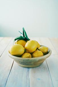 テーブルの上のレモンの写真素材 [FYI01404004]