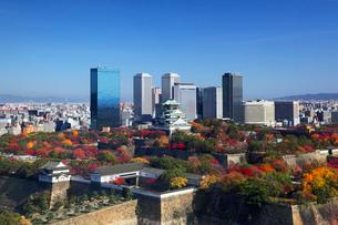 秋の大阪城と大阪ビジネスパークの写真素材 [FYI01404116]