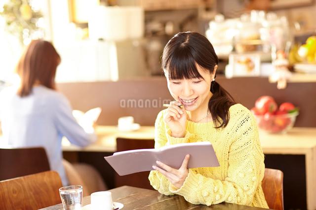 カフェにて手帳を持つ笑顔の女性の写真素材 [FYI01406468]