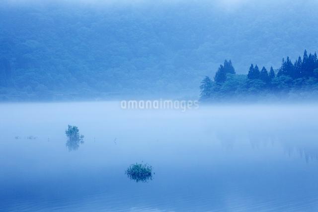 只見川の川霧の写真素材 [FYI01407414]