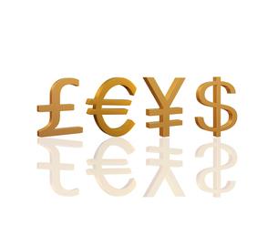 ポンドとユーロと円とドルの写真素材 [FYI01408814]