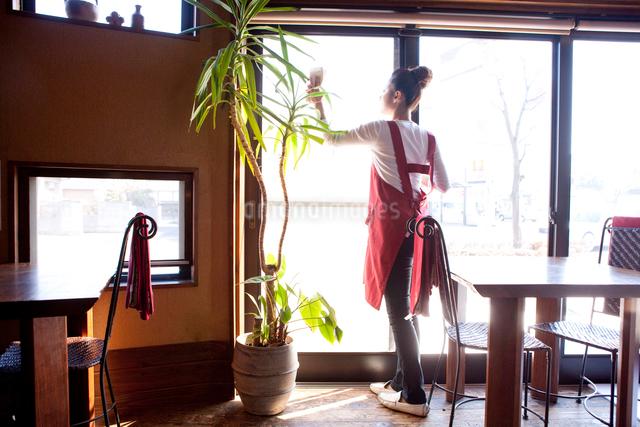 窓を拭く20代日本人女性の写真素材 [FYI01411341]