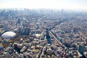 東京ドームと遠方のビル群ジオラマ風の写真素材 [FYI01412601]