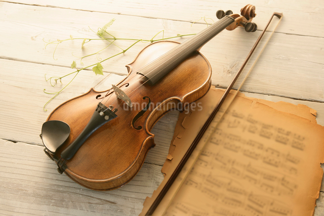 バイオリンと古い楽譜の写真素材 [FYI01413615]