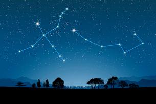 田園イメージに白鳥座,小熊座の写真素材 [FYI01413676]