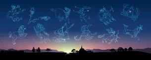 田園風景と12星座イメージの写真素材 [FYI01413728]