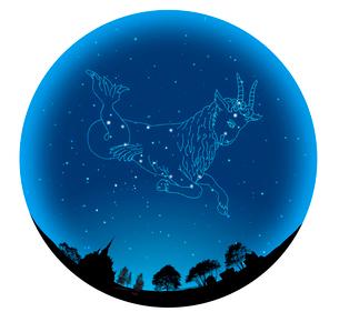 田園イメージの球体にやぎ座(12星座)の写真素材 [FYI01413779]