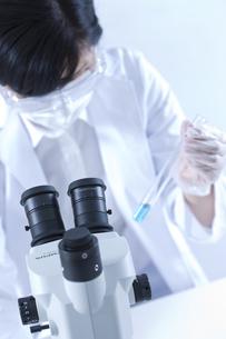 試験管を視る女性研究者の写真素材 [FYI01414238]