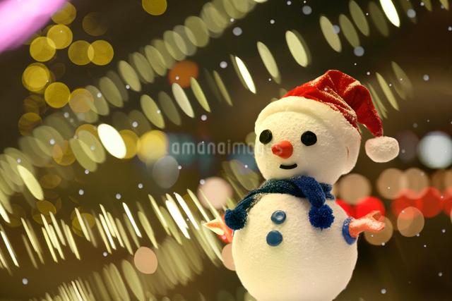 イルミネーションと雪だるまの写真素材 [FYI01414581]