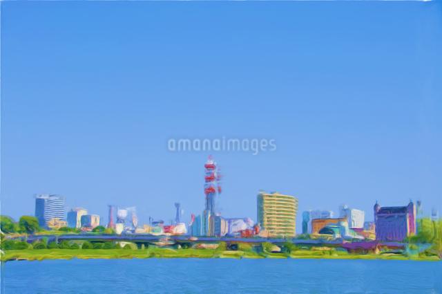 絵画調で描かれた湖沿いの街と青空の写真素材 [FYI01414694]