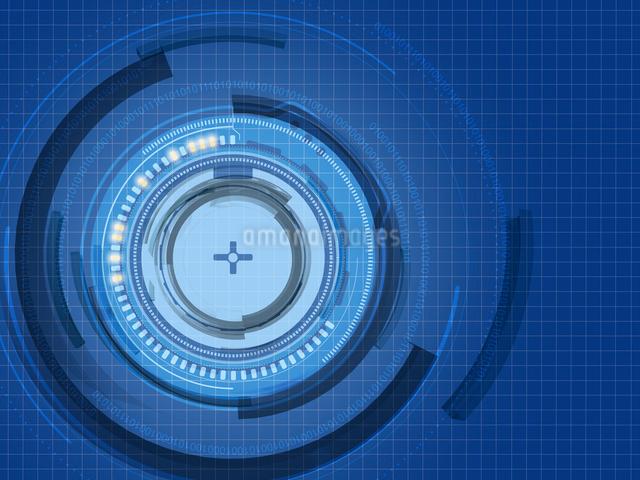 円を描いて煌めく回路系ITバックグラウンドのイラスト素材 [FYI01414696]
