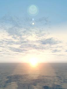 広大な大地に日が昇るCGランドスケープのイラスト素材 [FYI01414838]