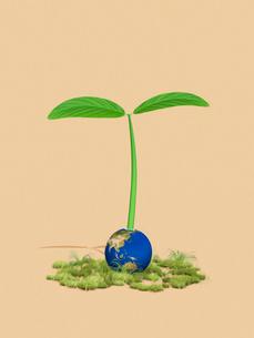 地球から生える巨大な新芽のイラスト素材 [FYI01415059]