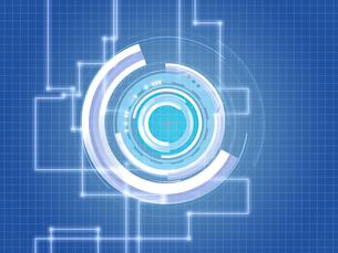 青白く光る回路系ITバックグラウンドイメージのイラスト素材 [FYI01415062]