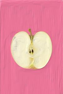絵画調で描かれた割ったりんご片面のイラスト素材 [FYI01415218]