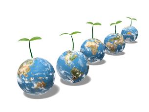双葉の芽を出した五つの地球のイラスト素材 [FYI01415475]