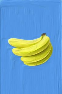 絵画調で描かれたバナナひと房(タテ)のイラスト素材 [FYI01415526]