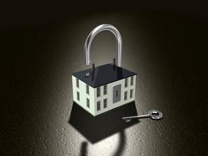 鍵を型どったホームセキュリティーイメージの写真素材 [FYI01416326]