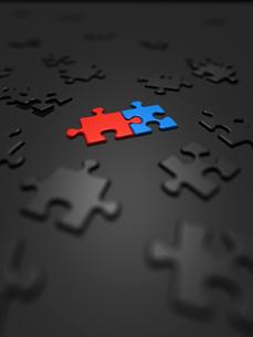 青と赤のみ組むジグソーパズルのイラスト素材 [FYI01416569]