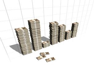 1万円の札束を積み上げたグラフの写真素材 [FYI01416576]