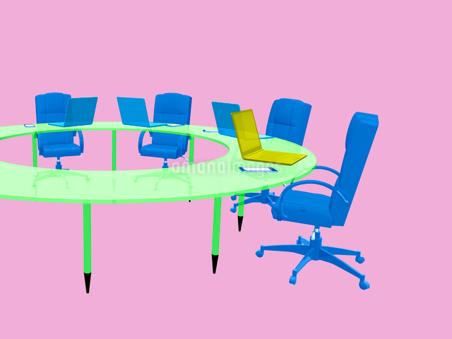 会議テーブルとビジネスチェアのイラスト素材 [FYI01417018]