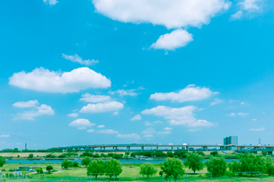 首都高の橋梁と荒川河川敷の写真素材 [FYI01417049]