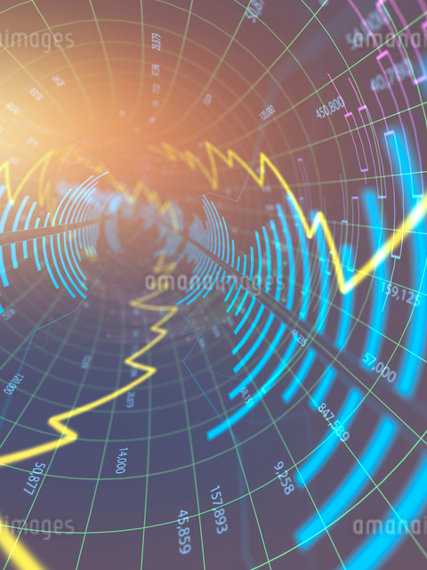 装飾背景のグラフ線の放射イメージのイラスト素材 [FYI01417312]