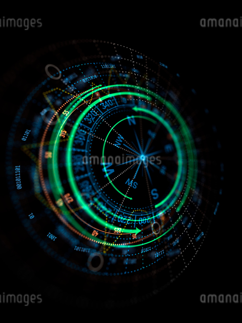 黒背景の円形図形イメージのイラスト素材 [FYI01417408]